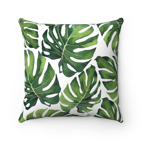 Tropical Monstera Leaves Faux Suede Square Pillow, Green, 3 Sizes