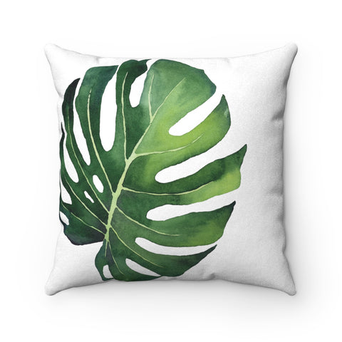 Tropical Monstera Palm Leaf Pillow, Modern