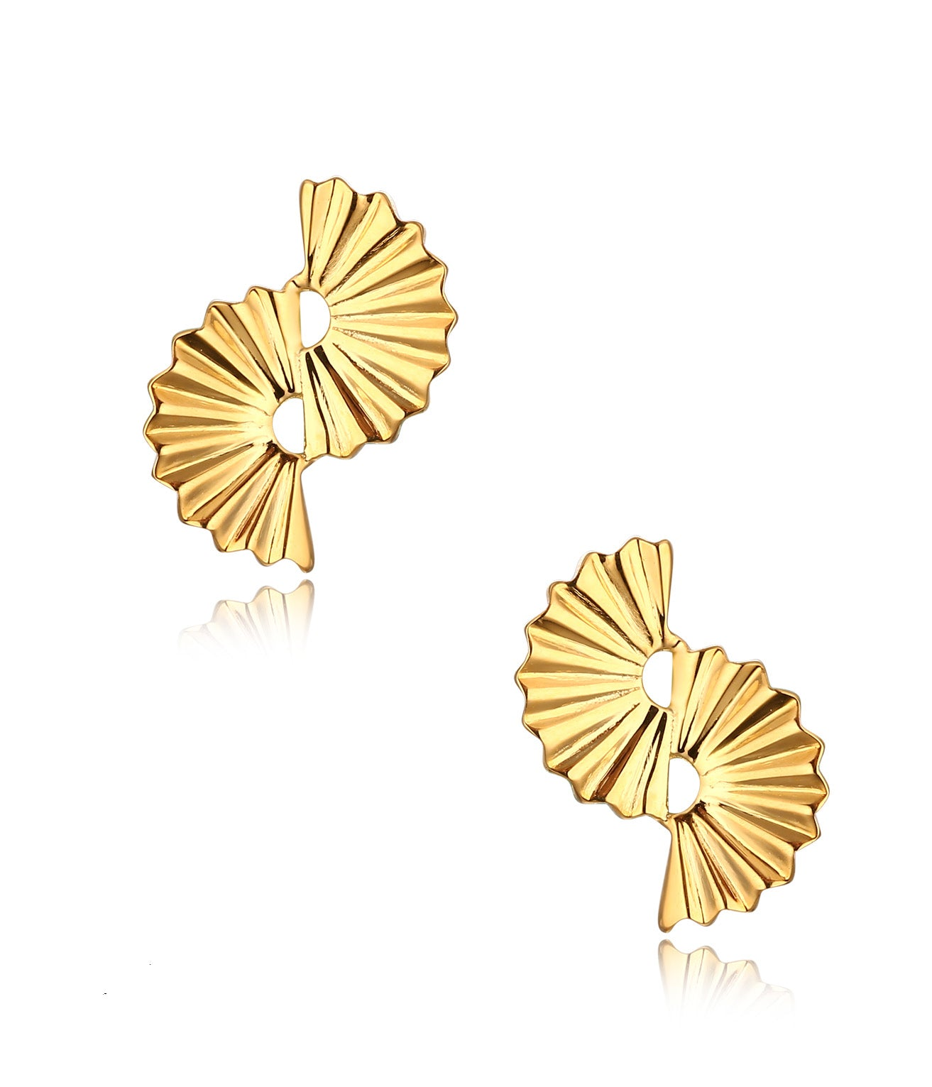 Antonella 18K Yellow Plating, Elegant Fan Charm Earrings, Gifts for Mom, Best Friends, Gold Tone - Quan Jewelry