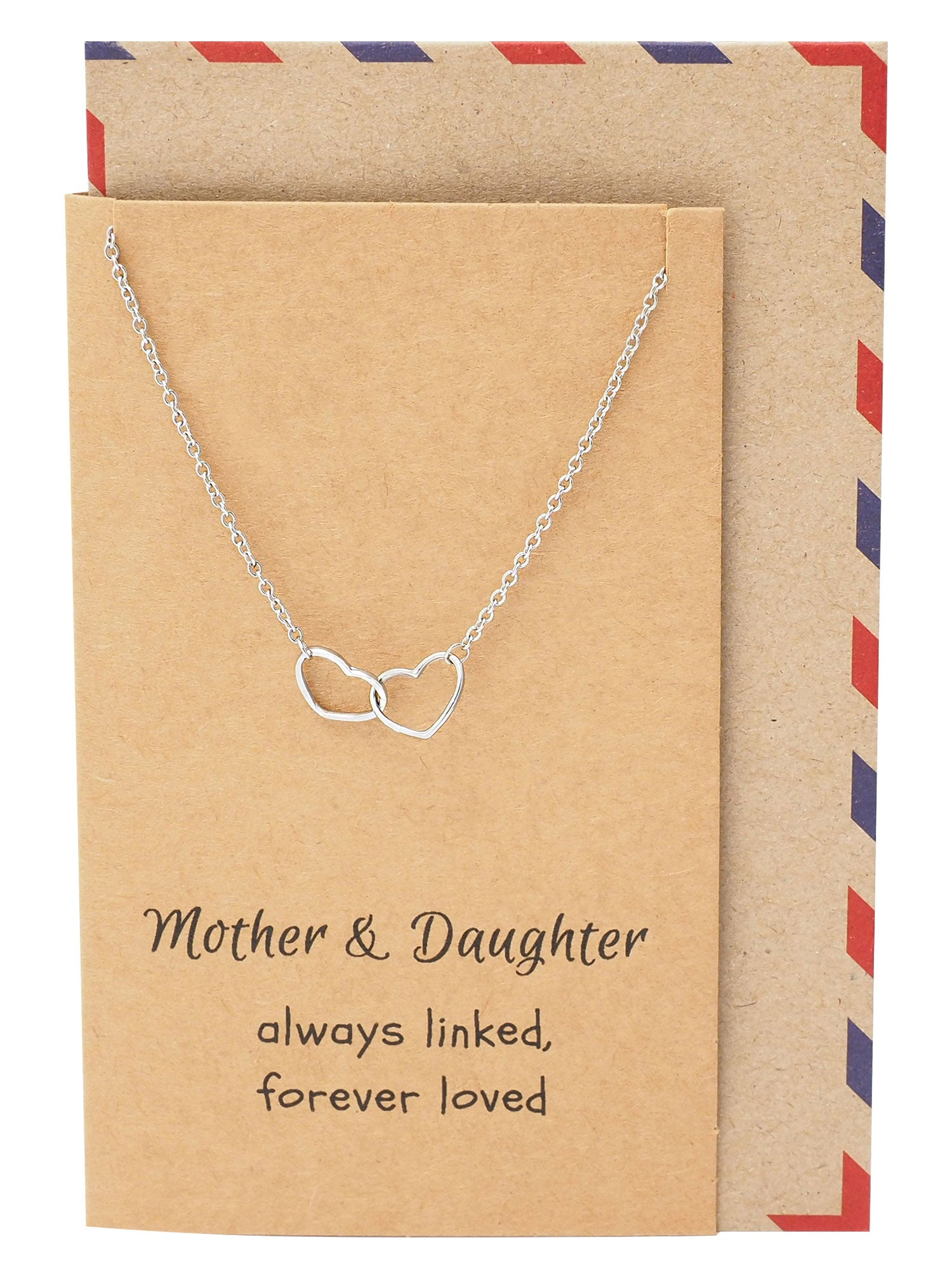 Stella Mother Daughter Necklace, Double Heart Necklaces for Women