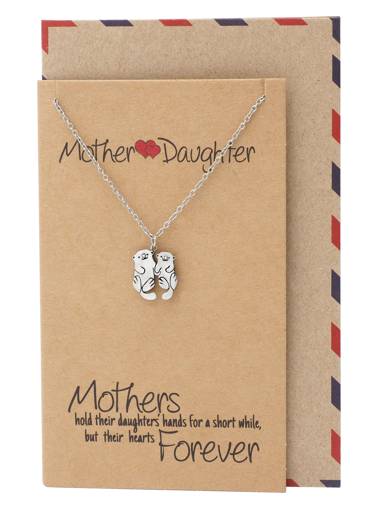 Adriana Mother and Daughter Otter Necklace with Inspirational Quote, Gifts for Mom - Quan Jewelry