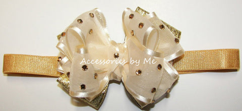 Glitzy Ivory Gold Metallic Bow Headband