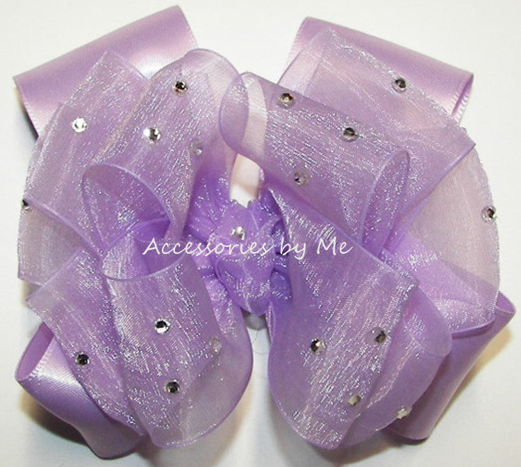 Glitzy Lavender Organza Satin Hair Bow - Accessories by Me