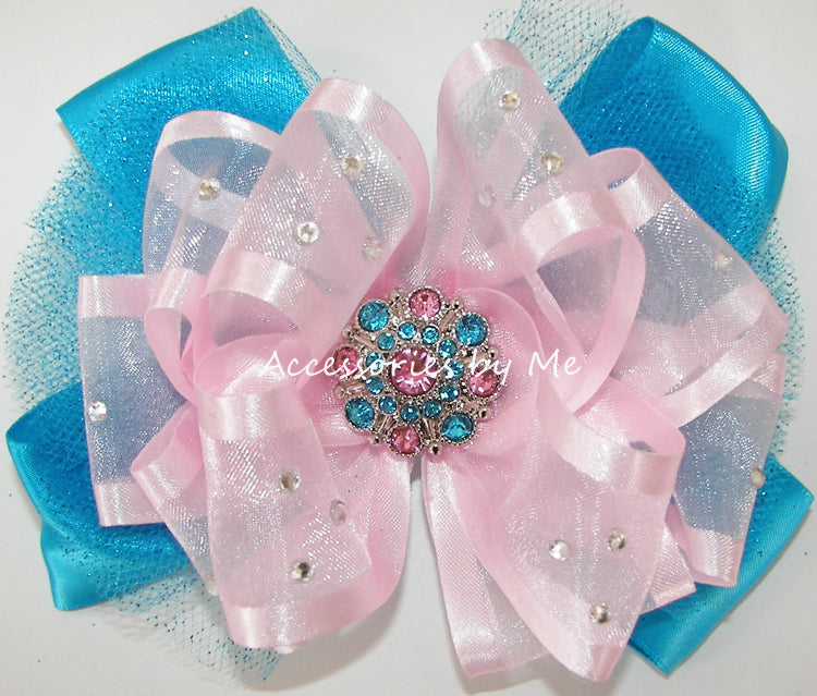 Glitzy Light Pink Turquoise Pageant Bow