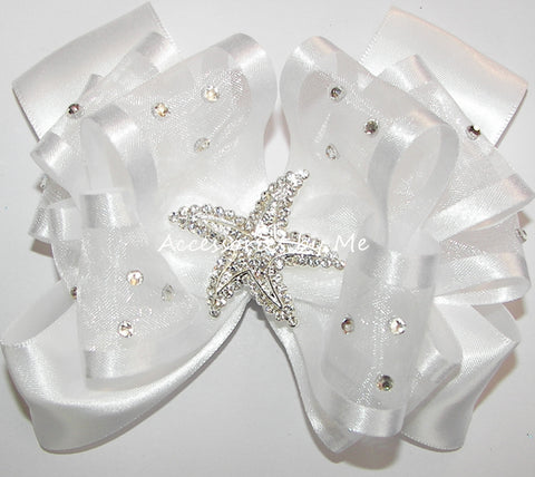 Glitzy White Organza Starfish Hair Bow