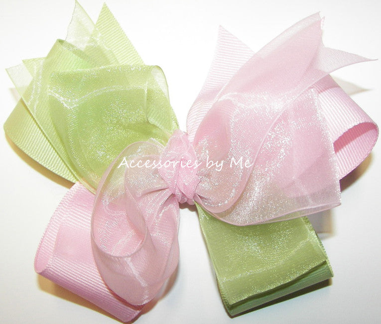 Frilly Light Pink & Soft Green Organza Grosgrain Hair Bow - Accessories by Me