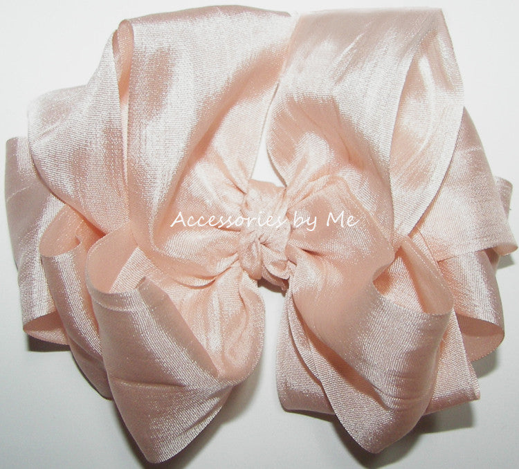 Blush Pink Silk Ribbon Hair Bow