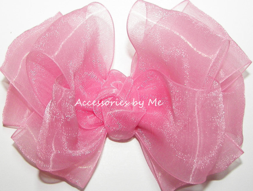 Fancy Pink Organza Hair Bow - Accessories by Me