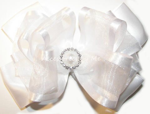 Communion White Organza Satin Hair Bow