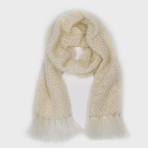 Ivory Handwoven Mohair Scarf