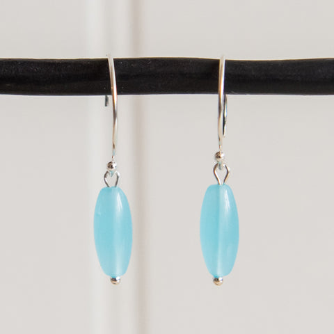 Small Blue Rice Bead Earrings