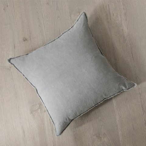 Stormy Gray Linen Pillow