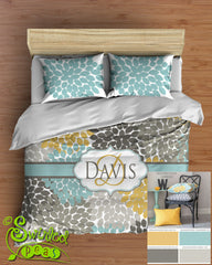 Dahlia Floral Bedding Comforter or Duvet! Bed Set Personalized Trending Yellow, Aqua Blue & Gray