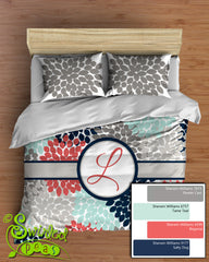 Dahlia Floral Comforter or Duvet Bedding Set Monogrammed Navy, Coral Pink and Aqua