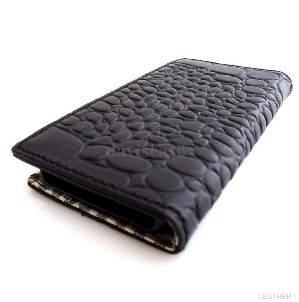genuine vintage leather case for iphone 5 5s book wallet cover new handmade crocodile Design Uk