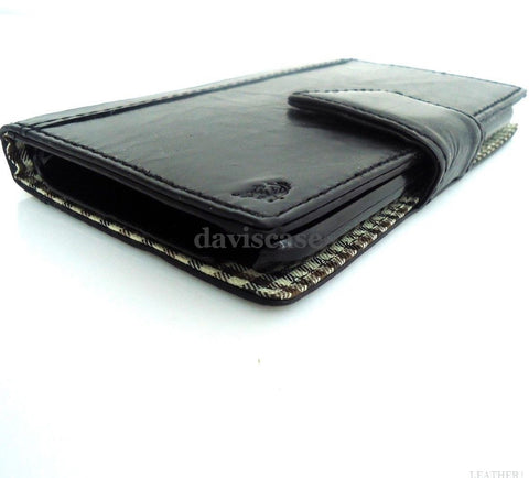 genuine Buffalo real leather Case for sony xperia z1 book wallet handmade id black