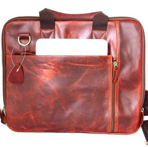 Genuine real Leather Shoulder hand Bag Messenger man crossbody Business laptop brown