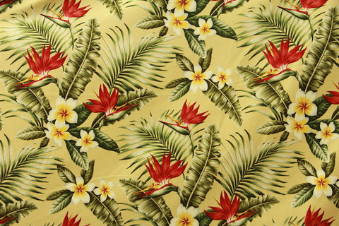 Plumeria Bird Of Paradise Upholstery Barkcloth Yellow Fabric