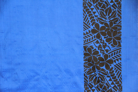 Plumeria Tattoo Border Blue Fabric