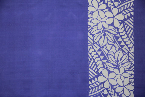 Plumeria Tattoo Border Purple Fabric