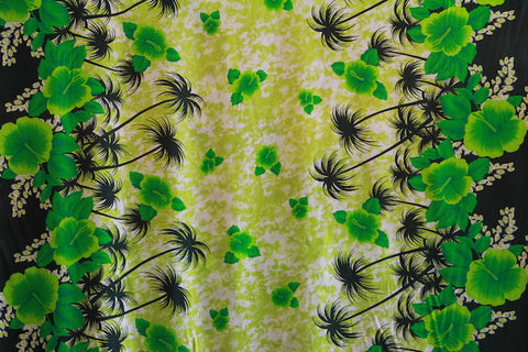 Double Border Hibiscus Flower Green Rayon Fabric