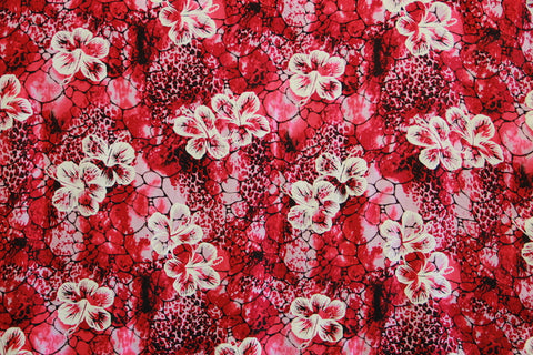 Floating Hibiscus Pink Rayon Fabric