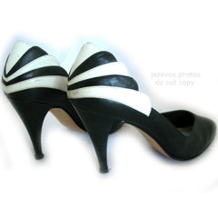 CONNIE BLACK WHITE Fan Design Women Ladies HIGH HEELS LEATHER Brazil SHOES 6 M