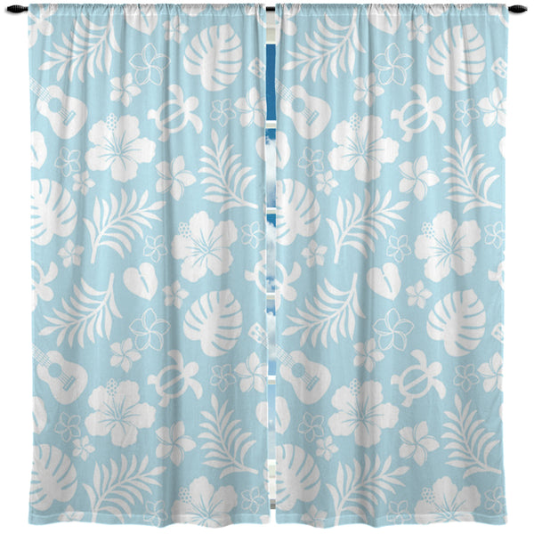 BABY BLUE HAWAIIAN STYLE CURTAINS