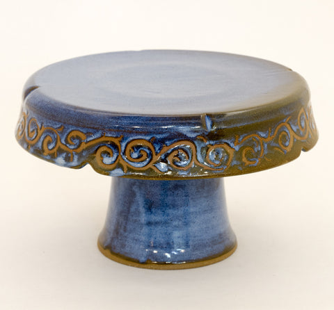 Cake Stand in Blue Wax Resist
