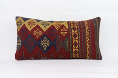 Geometric Red Kilim Pillow Cover 12x24 4243 - kilimpillowstore  - 1