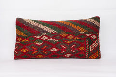 Geometric Red Kilim Pillow Cover 12x24 4327 - kilimpillowstore  - 1