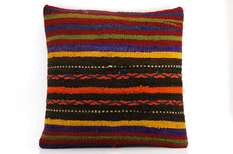 CLEARANCE 16x16 Vintage Hand Woven Kilim Pillow  438, blue, red,  orange, black, green , purple striped, embroidery faded - kilimpillowstore  - 1