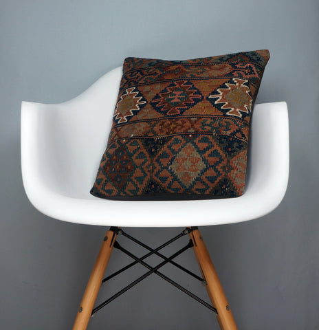 Kilim  pillow case 16,  throw  cushion, Mid century pillow, Euro sham  2398 - kilimpillowstore  - 1