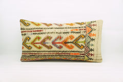 12x24  Geometric kilim pillow sham, Tribal cushion cover, Handwoven pillowcase , mid century decor multi colour 1215 - kilimpillowstore  - 1