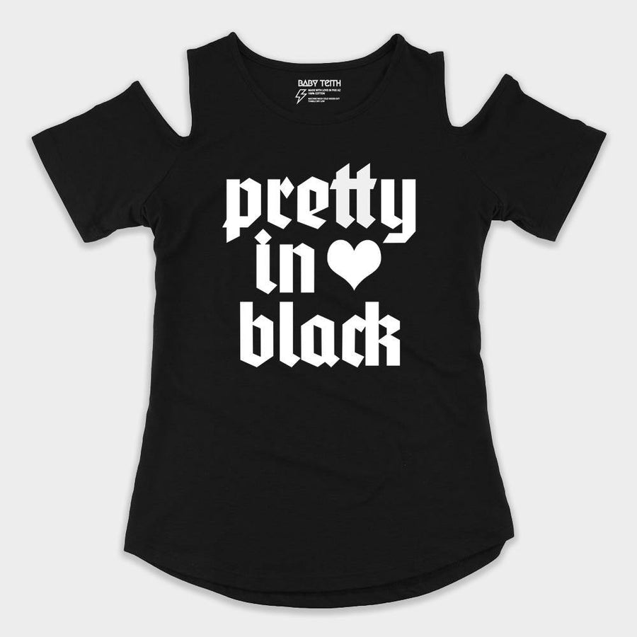 Pretty in Black Cold Shoulder Tee