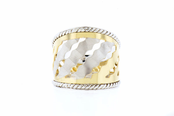 Cigar Ring in 14K White and Yellow Gold with Wide Squiggle