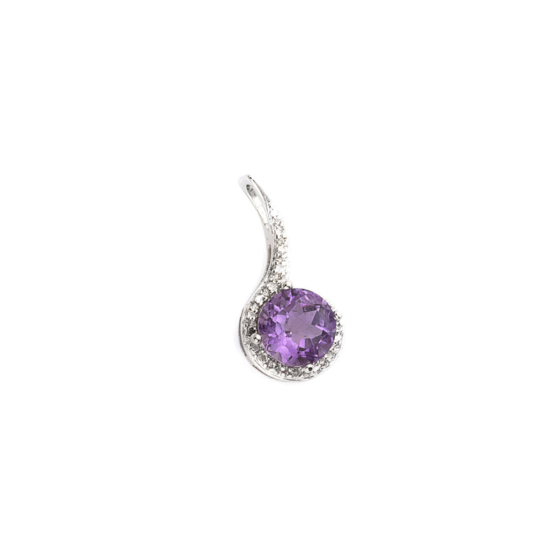 Faceted Amethyst Sterling Silver Pendant with CZ accents