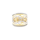 14K Yellow and White Gold Scroll Design Cigar Ring