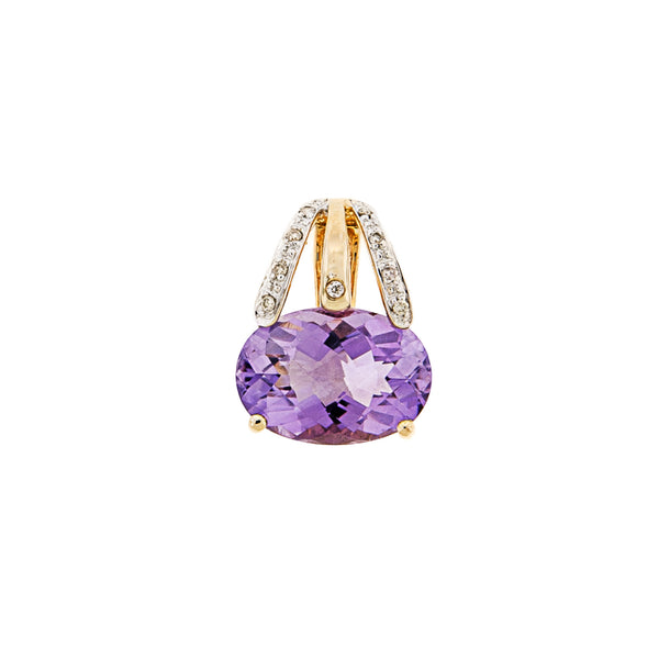 Large Amethyst & Diamond Pendant 14k Gold