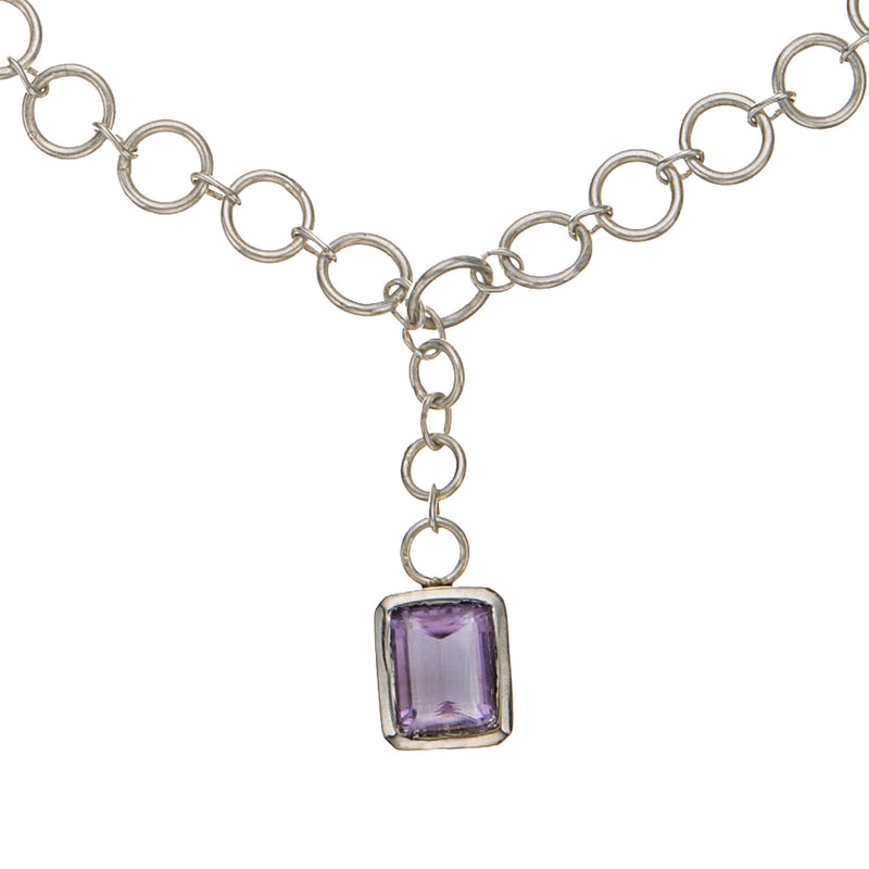 Large Link Amethyst Drop Necklace Sterling Silver