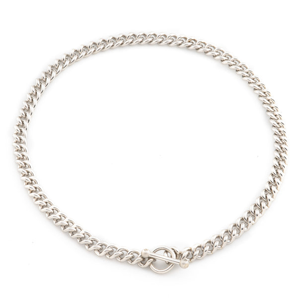Men's Sterling Silver Diamond Toggle Necklace