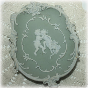 Green Jasperware Wall Plaque by Arnart