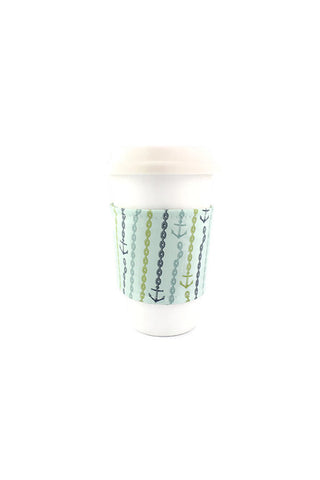 Reversible Coffee Sleeve - Sea Foam Sailor