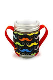 Mason Jar Sippy Cup - Primary Moustaches