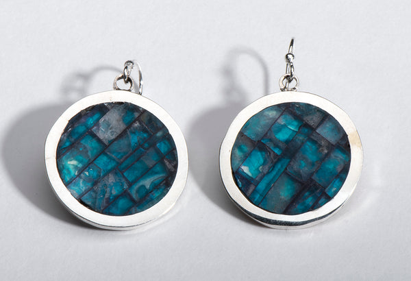 Sterling Silver & Fluorite Inlaid Earrings