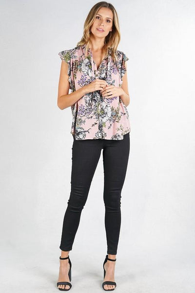 Rose Print Ruffle Button-up Blouse
