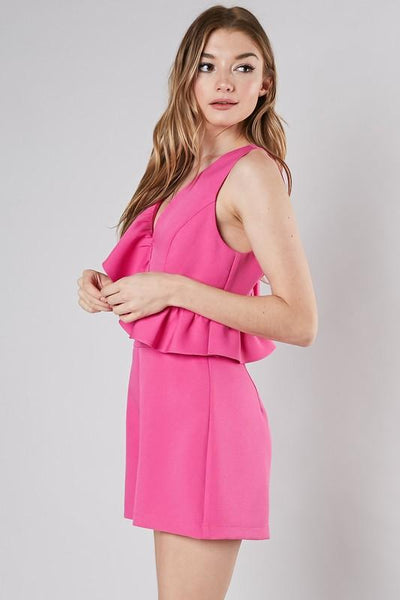 Hot Pink Ruffled Down Romper