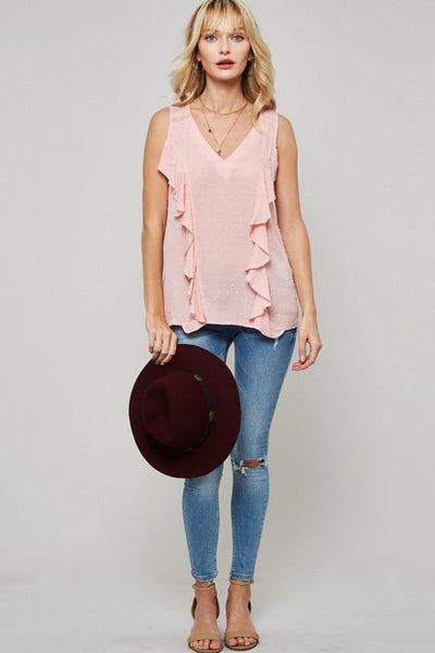 Pink Sleeveless Ruffle Blouse