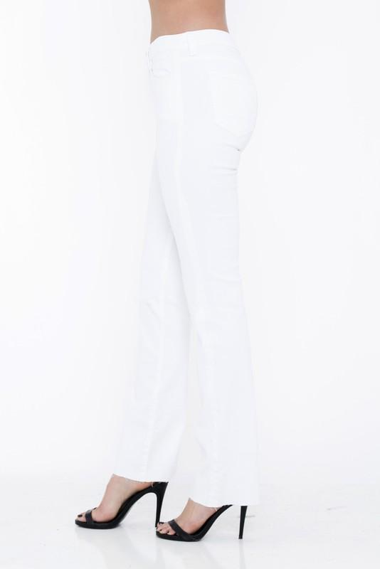 Willa White Mid Rise Mini Boot Cut Jeans