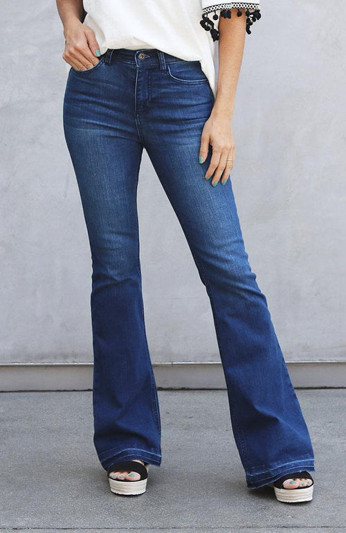 Fae Dark Denim Frayed Flare Jeans